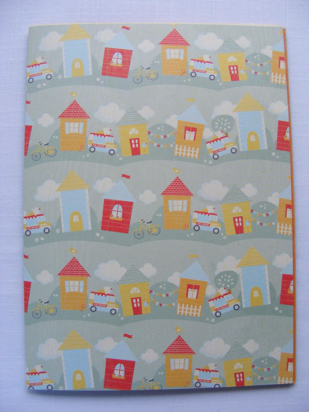 A5 Handmade Drawing Sketching Notebook Ice Cream Van Bunting & Bikes Red Yellow Green Blue Orange